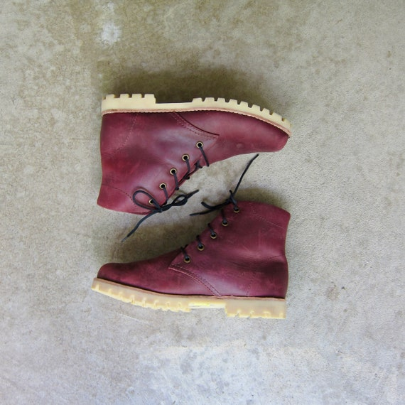 90s Oxblood Red Leather Boots   Vintage Chunky Ank