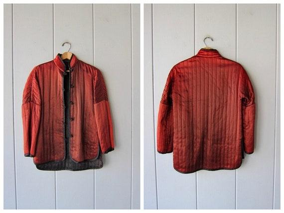 Vintage Knot Button Smoking Jacket | Rust Orange N