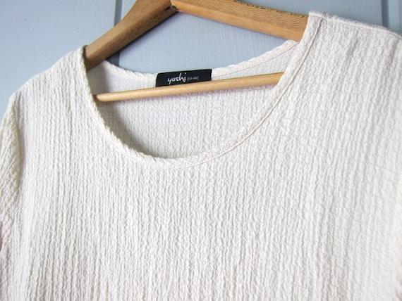 Minimal Creamy White Blouse | Textured Tunic Top … - image 4