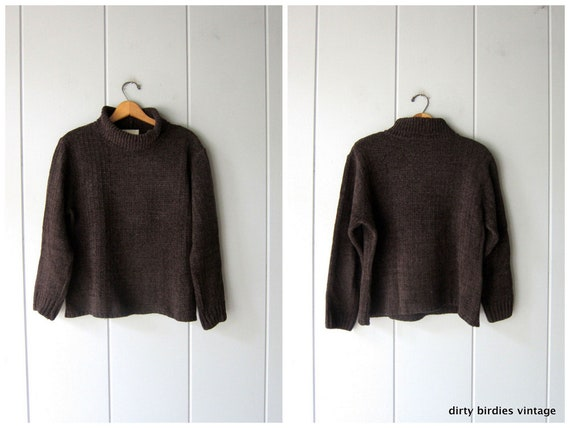 90s Chocolate Brown Turtleneck Sweater   Soft Text