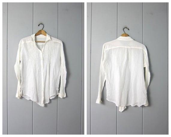 White Cotton Gauze Blouse   Minimal Button Up Cott