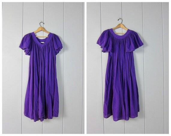 80s Purple Gauze Tent Dress | Vintage Flutter Slee