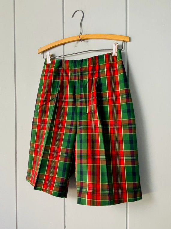 60s Tailored High Waist Tartan Shorts | Skinny Sh… - image 3
