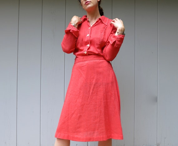 70s Country Wester Shirt & Skirt Set | Orange Skir