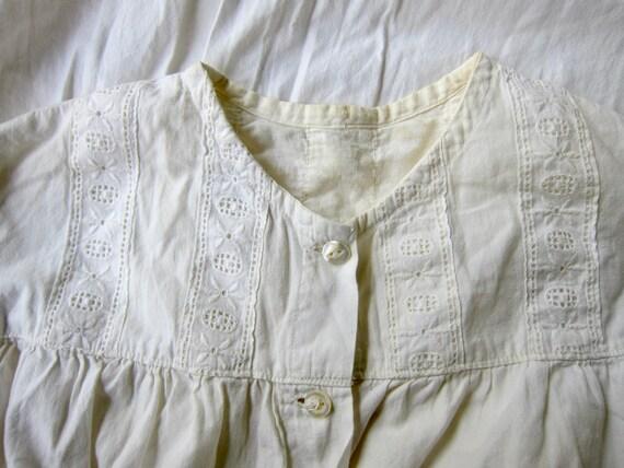 Antique Long White Cotton Nightgown | Edwardian V… - image 2