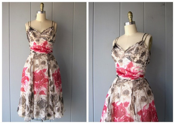 1950s Silk Chiffon Dress | Pink White Sweetheart D