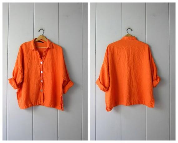 Oversized Orange Linen Shirt | Button Up Boxy Blou
