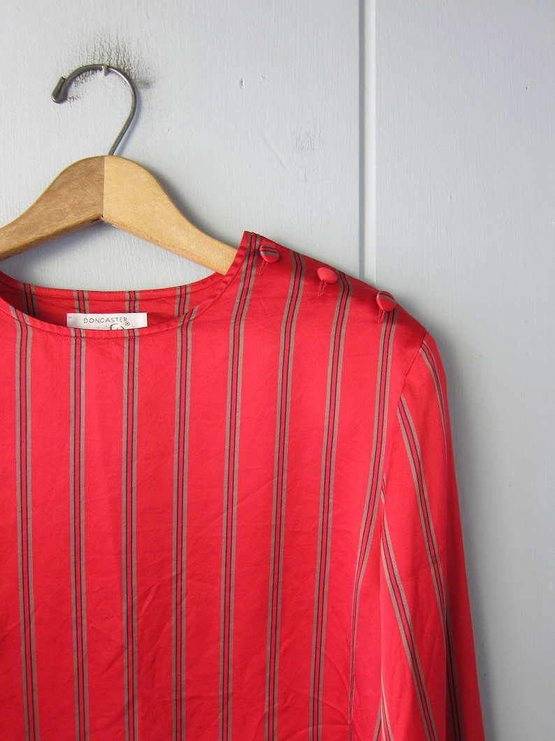 Vintage Long Sleeve Silk Pullover with Shoulder Buttons 80s Modern Boxy Silk Shirt Red Striped Silk Blouse