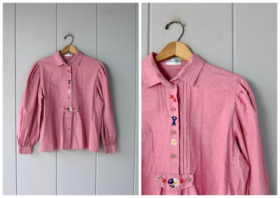80s Pink Cotton Peasant Blouse | Button Up Smock S