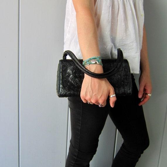Black Ostrich Leather Purse | Classic 1950s Koret