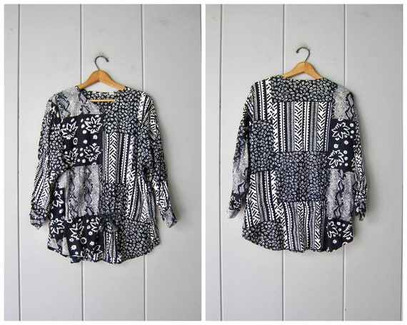 80s Floral Patchwork Tunic Top   Vintage Black Whi