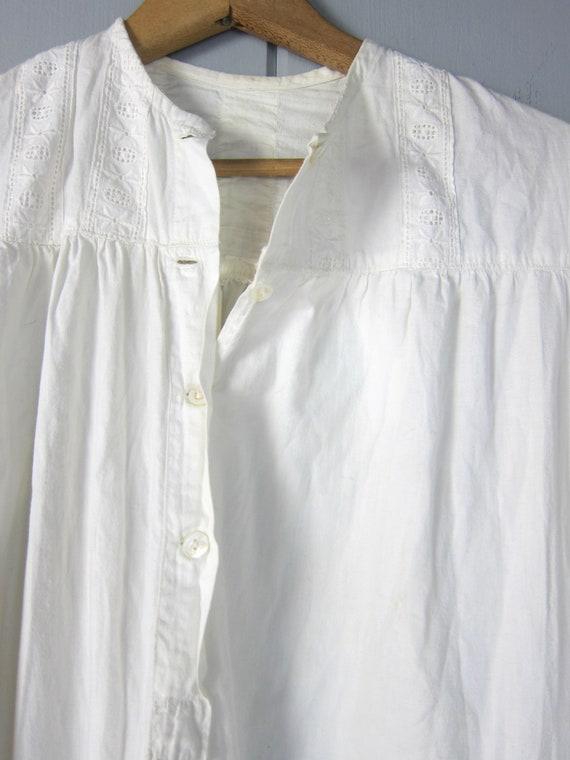 Antique Long White Cotton Nightgown | Edwardian V… - image 6