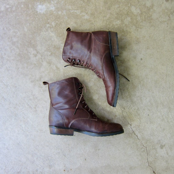 80s Tall Brown Leather Boots | Vintage Lined Ankle