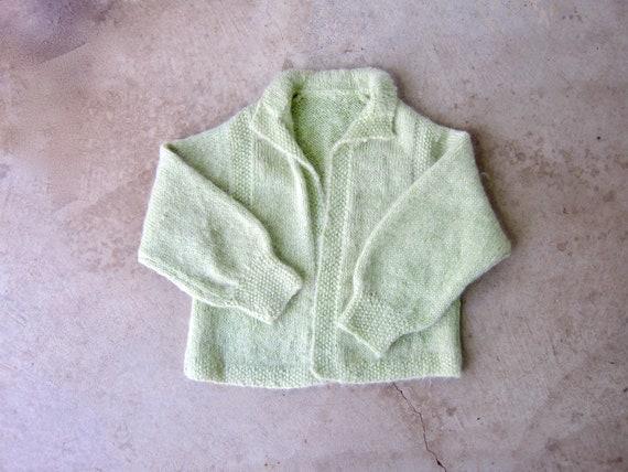 1950s Mohair Sweater | Sea-foam Green Cardigan | V