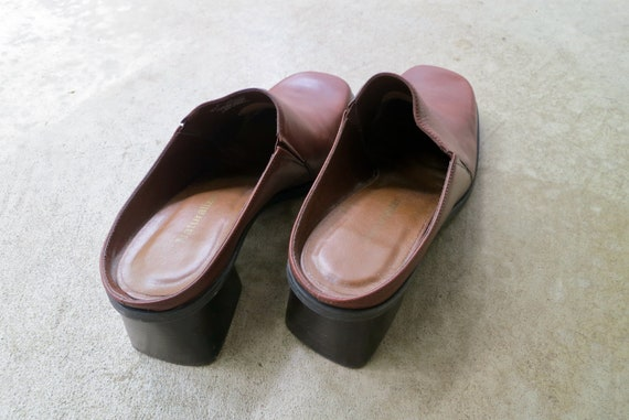 90s Brown Leather Mules   Modern Brown Leather Sl… - image 6