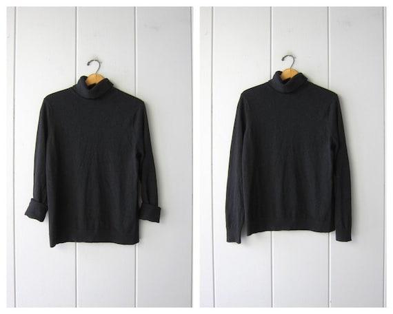 Black Cashmere Turtleneck Sweater | 90s Black Knit