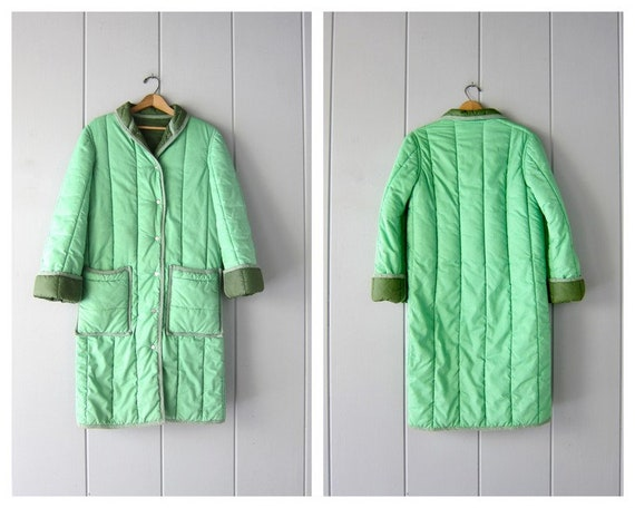 80s Green Puffer Coat | Vintage 1980s Snap Up Quil