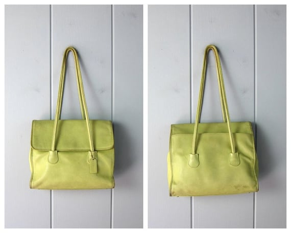 1980s Chartreuse Green Coach Bag | Large Coach Do… - image 9