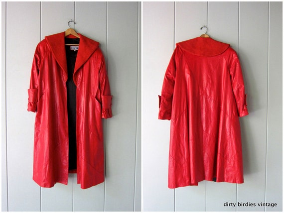 80s Long Red Leather Coat | Open Leather Trench |