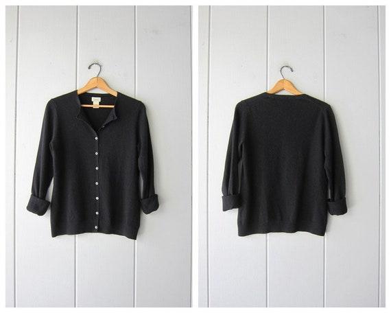 Black Cashmere Cardigan Sweater | LL Bean Button U