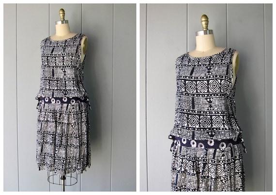 Vintage 80s Indian Dress | Black White Batik Print