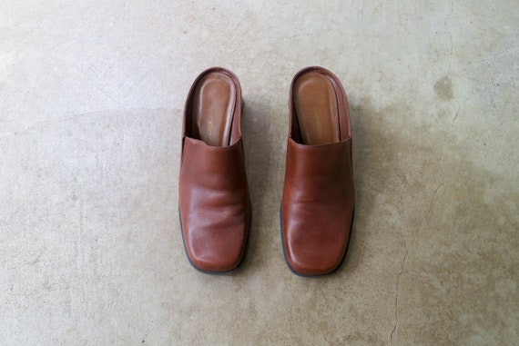 90s Brown Leather Mules   Modern Brown Leather Sl… - image 2