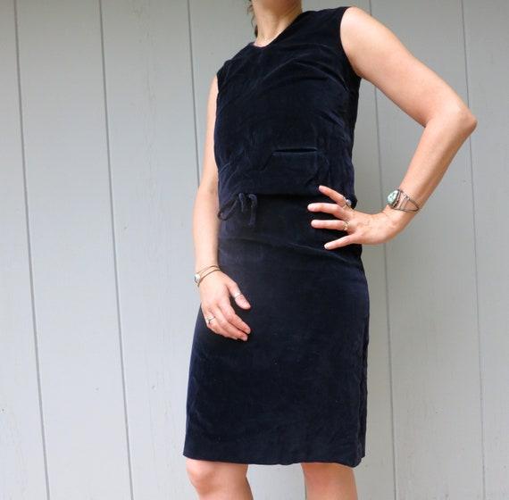 Vintage Blue Velvet Dress | Modern Sleeveless Dres
