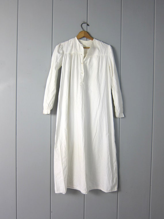 Antique Long White Cotton Nightgown | Edwardian V… - image 3
