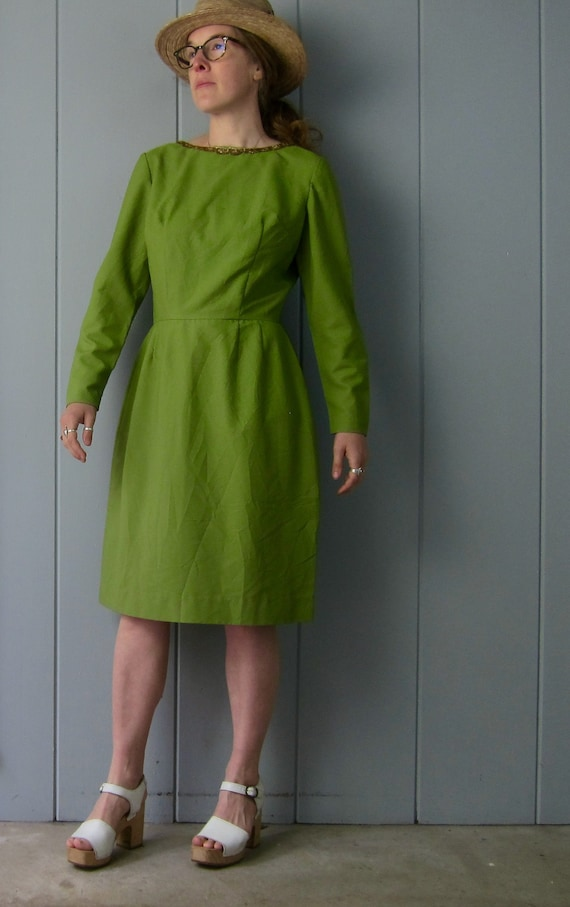 Avocado Green 60s Dress | Vintage Mod Sheath Dress
