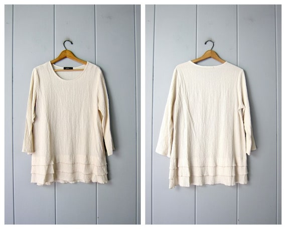 Minimal Creamy White Blouse | Textured Tunic Top |