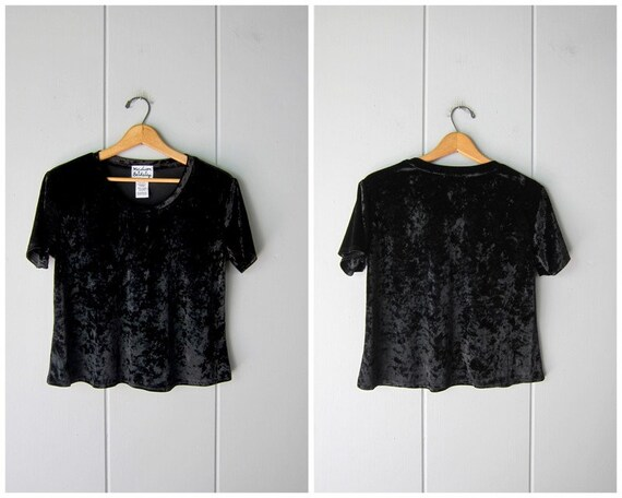 Black Velvet Shirt | 90s Crushed Velvet Top | Vint