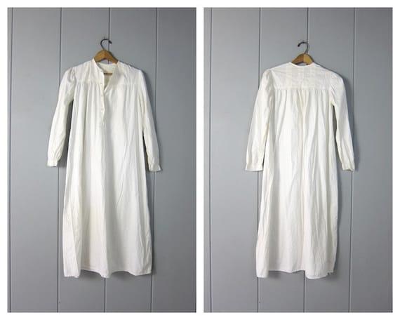 Antique Long White Cotton Nightgown | Edwardian Vi