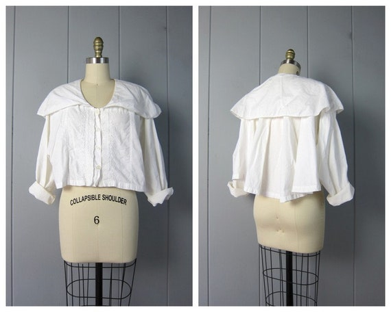 80s White Cotton Poet Blouse | Minimal Cropped Lon