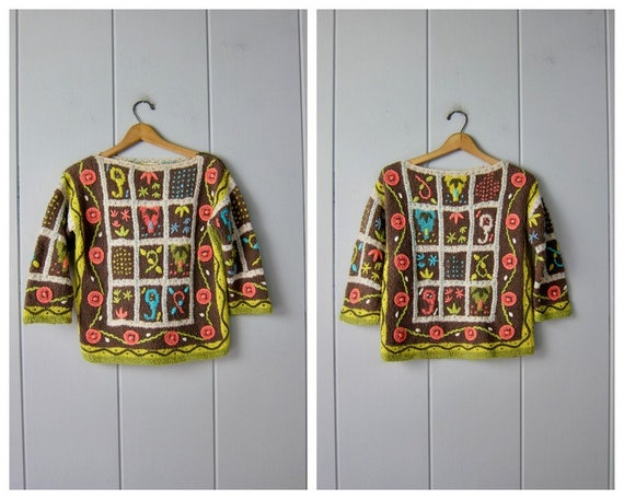 Vintage Hand Knit Italian Sweater | Colorful Flor… - image 2