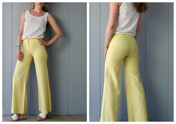 60s High Waist Pants | Yellow Fit & Flare Sailor P