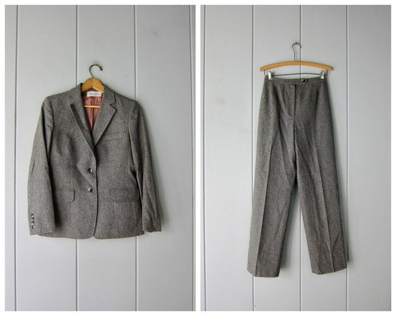 Two Piece Wool Pant Suit Set   80s Matching Wool S