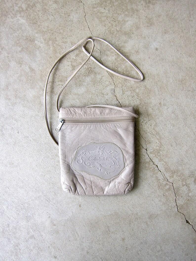 Beige Leather Crossbody Bag Leather Small Everyday Travel Purse 80s Carlos Falchi Shoulder Purse