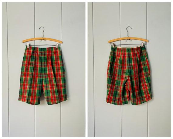60s Tailored High Waist Tartan Shorts | Skinny Sh… - image 9