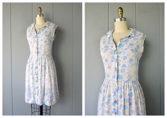 60s Floral Day Dress | Sheer White Cotton Dress |