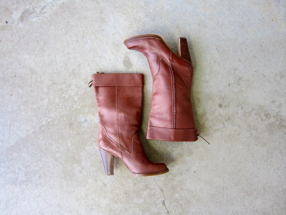 70s Tall Leather Boots | Vintage High Wooden Heel