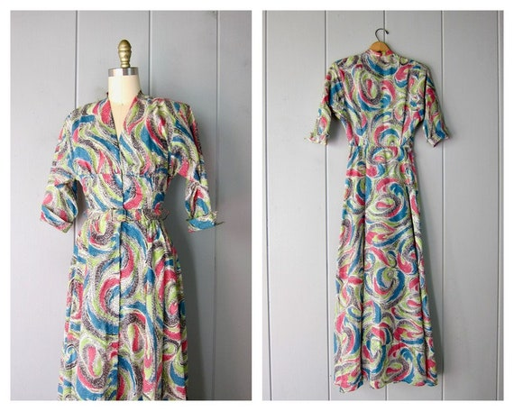 1940s Dress | Colorful Printed 40s Lounge Dress wi