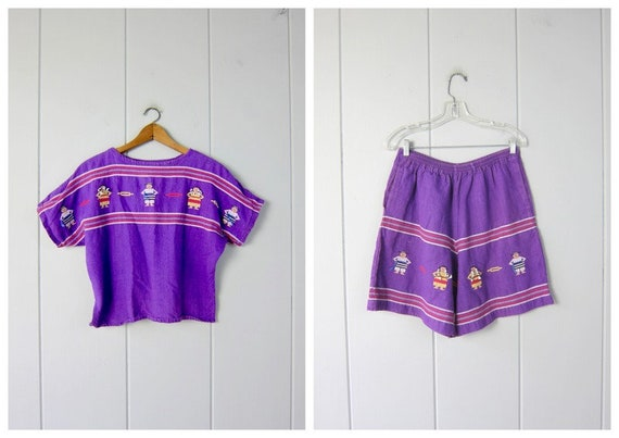 Vintage 70s Mexican Top & Shorts Set   Matching Et