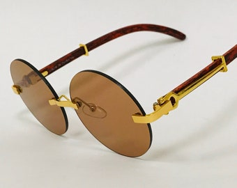 Mens Large Round Wood Buff OG Gangster 90s Luxury Clear Lens Glasses