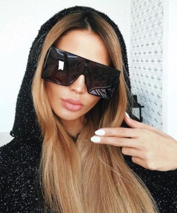 Betty Fashion Designer Gold Frame Oversize XL Large Square Women Men Sunglasses