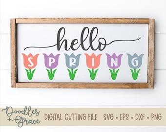 Hello Spring SVG | spring svg | spring flower svg | tulip svg | hello spring cutting file | spring cutting file | svg | dxf | eps | png