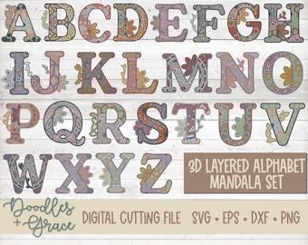 3D Alphabet Mandala SVG Bundle | Layered Alphabet Mandala SVG | Paper Crafting SVG Files | 3D Layered Mandala cut file | svg | dxf | eps
