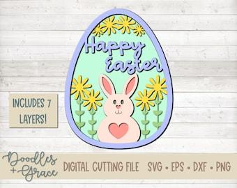 Happy Easter Layered Egg SVG | Easter Egg SVG | 3D Layered Easter Egg SVG | Paper Crafting Cutting File | svg | dxf | eps | png