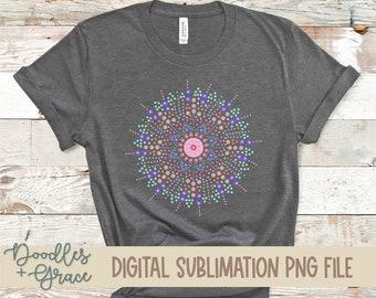 Dot Mandala Sublimation File | Hand Drawn Mandala PNG | Boho Mandala Clip Art | Sublimation | PNG