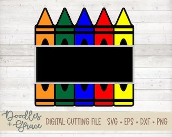 Layered Crayon Sign SVG | Back to School Cut File | Chalkboard Sign SVG | Teacher Gift Cut File | School svg | svg | dxf | eps | png