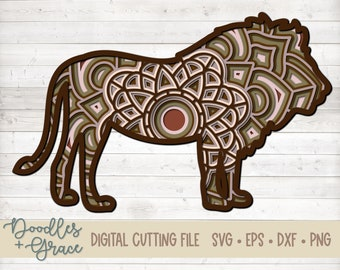 Lion 3D Mandala SVG | Lion Layered Mandala SVG | Paper Crafting SVG File | Animal 3D Layered Mandala cut file | svg | dxf | eps
